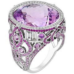 20.40 Carat Kunzite with Pink Fancy Sapphires and Diamond Fading Ring 18K Gold