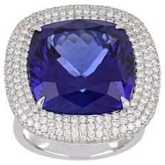 20.41 Carat Cushion Tanzanite Ring with Diamonds 18 Karat White Gold