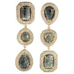 20.41 Carat Fancy Diamond 18 Karat Gold Triple Drop Earrings