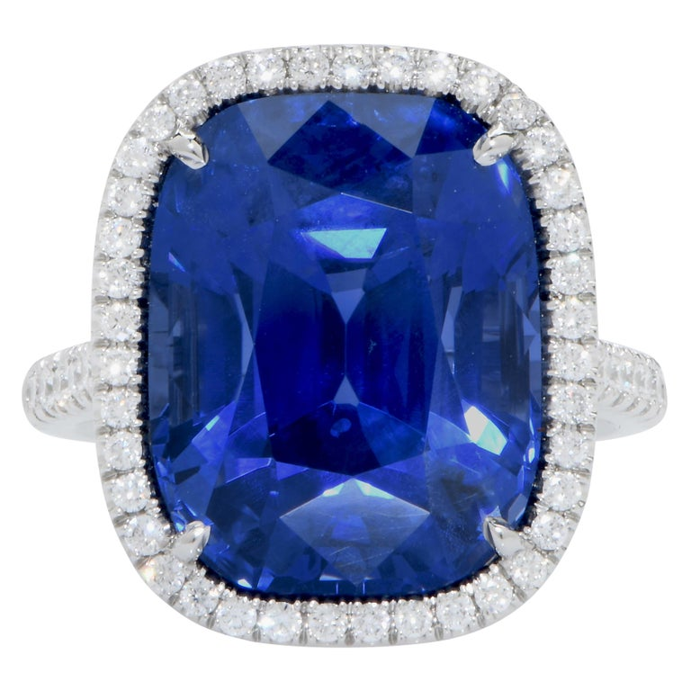 Important Cushion Cut 20.43 Carat Ceylon Sapphire AGL Graded No Heat Diamond Ring. This beautiful hand made ring features a gorgeous Ceylon sapphire AGL graded to mention No Heat treatment. Ring Size 6.5 Metal: Platinum Metal Weight:14.5 Grams