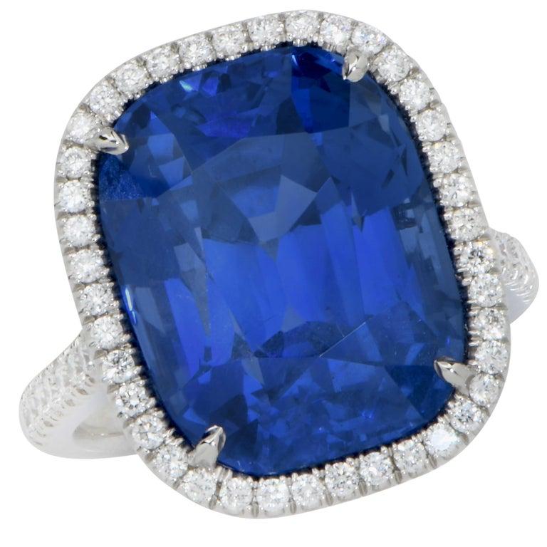 Cushion Cut 20.43 Carat AGL Graded No Heat Ceylon Sapphire Set on Handmade Diamond Platinum For Sale