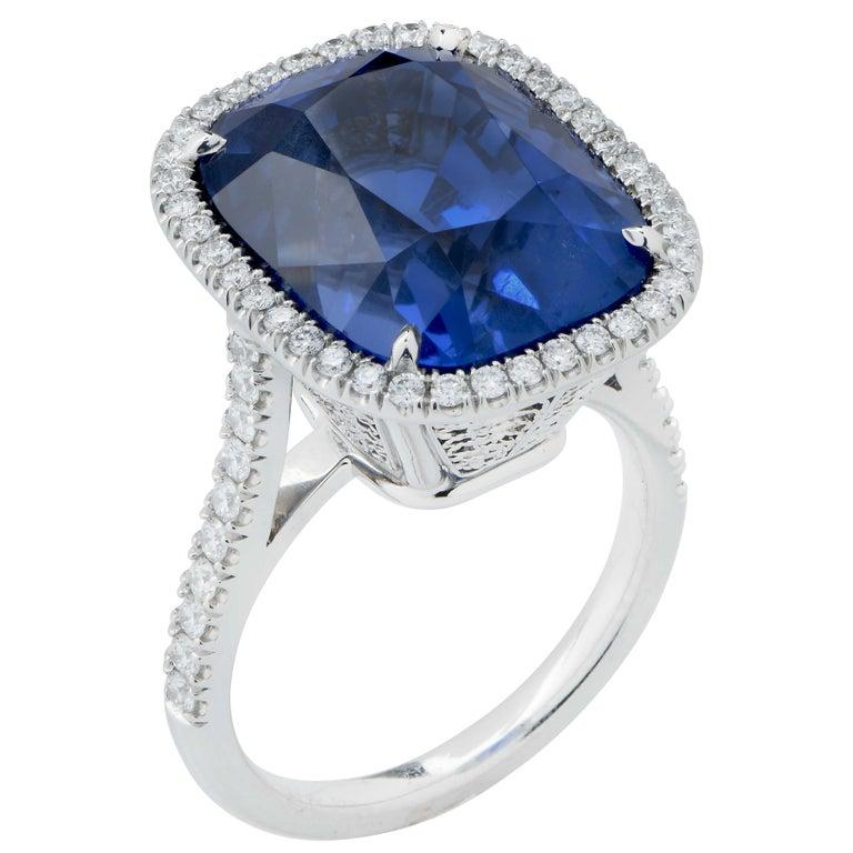 20.43 Carat AGL Graded No Heat Ceylon Sapphire Set on Handmade Diamond Platinum In New Condition For Sale In Coral Gables, FL