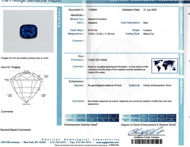 20.43 Carat AGL Graded No Heat Ceylon Sapphire Set on Handmade Diamond Platinum For Sale 1