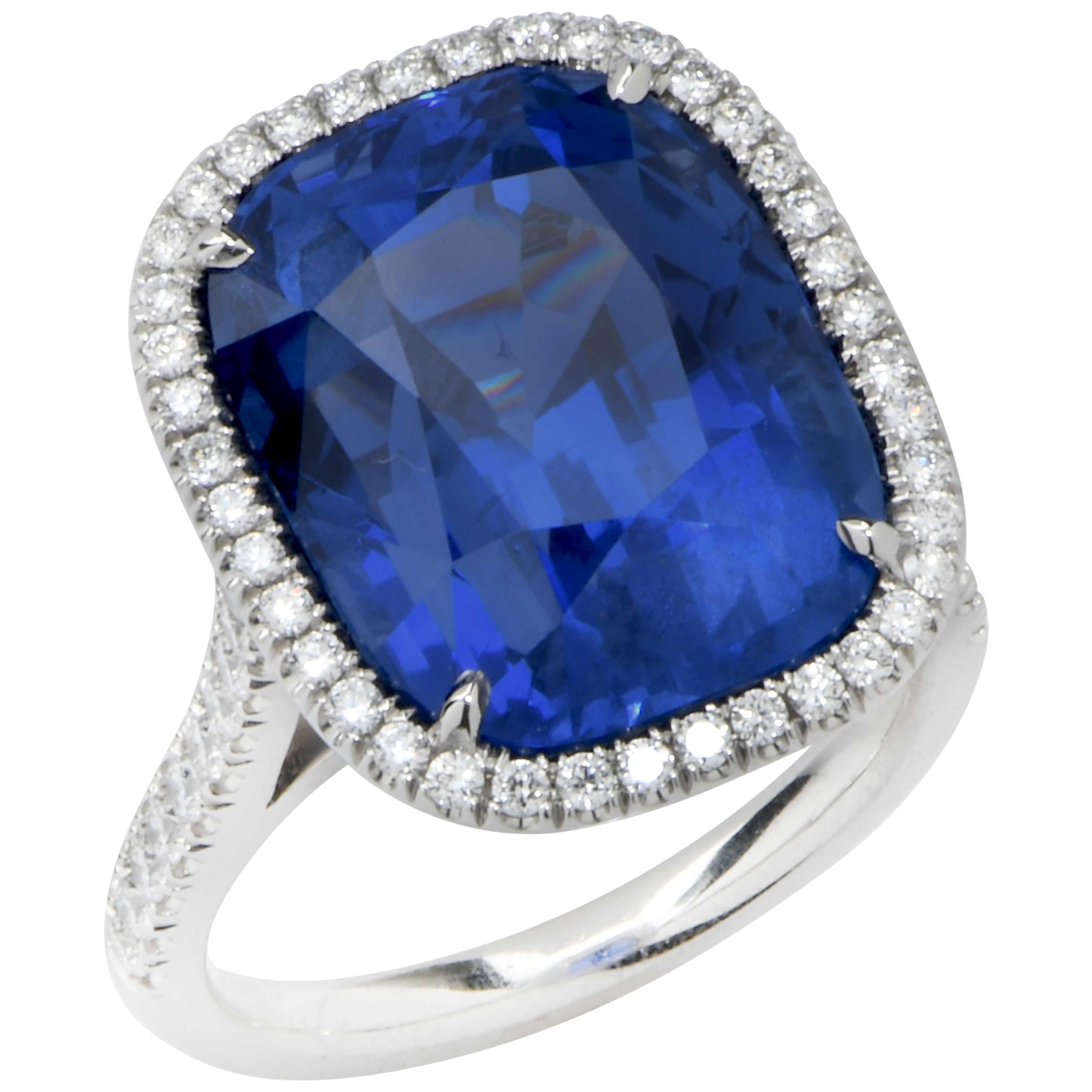 20.43 Carat AGL Graded No Heat Ceylon Sapphire Set on Handmade Diamond Platinum