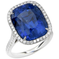 20.43 Carat AGL Graded No Heat Ceylon Sapphire Set on Handmade Diamond Platinum