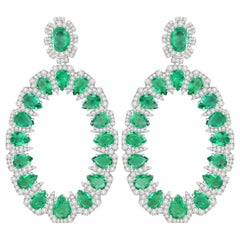 20.43 Carat Emerald Diamond 18 Karat Gold Earrings