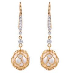20.46 Carat South Sea Pearls Diamonds 18 Karat Yellow Gold Dangle Earrings