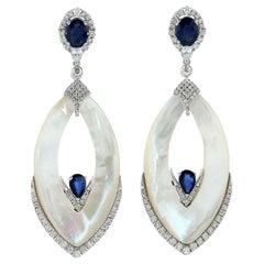 20.47 Carat Mother of Pearl Blue Sapphire 18 Karat Gold Diamond Earrings