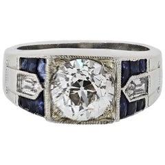 2.05 Carat Art Deco Diamond and Sapphire Engagement Ring in Platinum