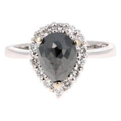 2.05 Carat Black and White Diamond 14 Karat White Gold Ring