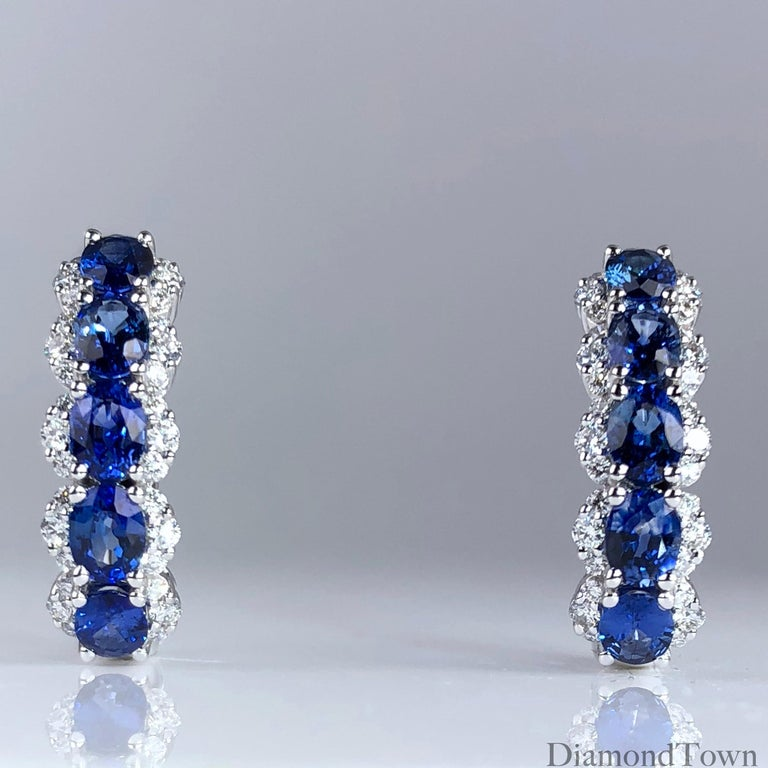 Contemporary 2.05 Carat Blue Sapphire and 0.39 Carat Diamond Hoop Earrings in 18 Karat Gold For Sale