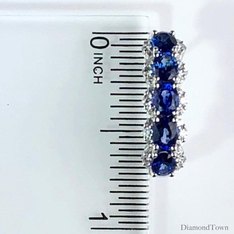 Women's 2.05 Carat Blue Sapphire and 0.39 Carat Diamond Hoop Earrings in 18 Karat Gold For Sale