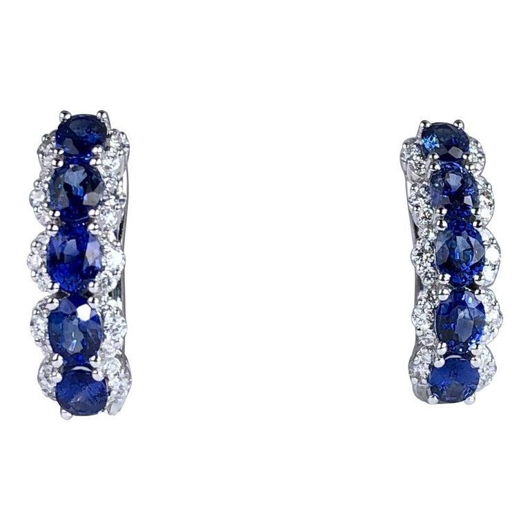 2.05 Carat Blue Sapphire and 0.39 Carat Diamond Hoop Earrings in 18 Karat Gold For Sale