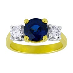 2.05 Carat Blue Sapphire and Diamond Engagement Ring