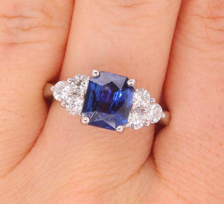 Contemporary Radiant Cut Natural Blue Sapphire White Diamond Engagement Ring 18K White Gold