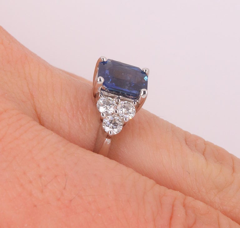 Radiant Cut Natural Blue Sapphire White Diamond Engagement Ring 18K White Gold In New Condition In GREAT NECK, NY