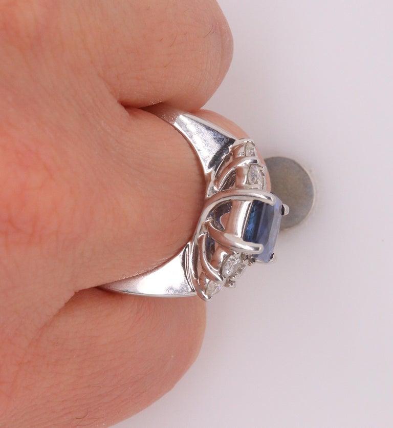 Women's Radiant Cut Natural Blue Sapphire White Diamond Engagement Ring 18K White Gold