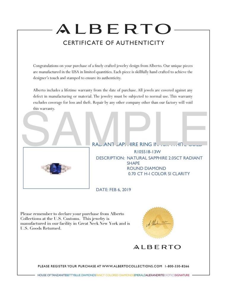 Radiant Cut Natural Blue Sapphire White Diamond Engagement Ring 18K White Gold 1