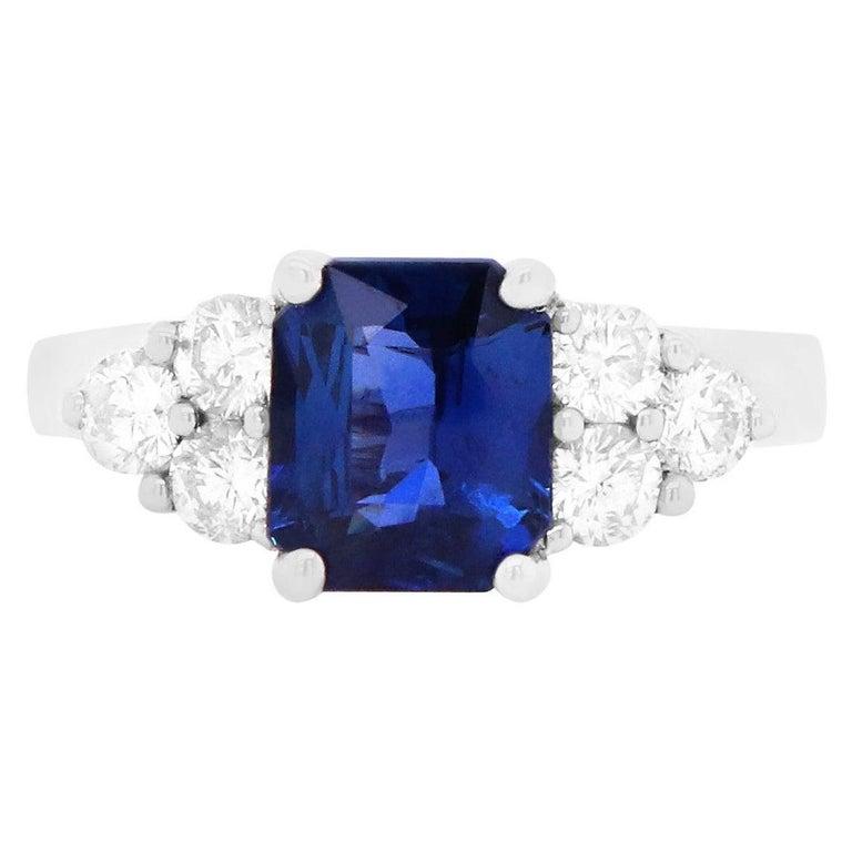 Radiant Cut Natural Blue Sapphire White Diamond Engagement Ring 18K White Gold