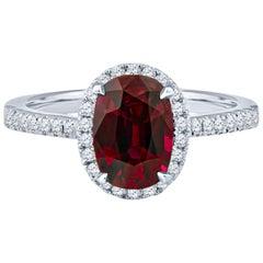 2.05 Carat Cushion Cut Thai Ruby and 0.35 Carat Diamond Ring, GIA Certified