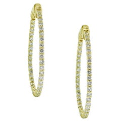 2.05 Carat Diamond Inside Out Hoop Earrings