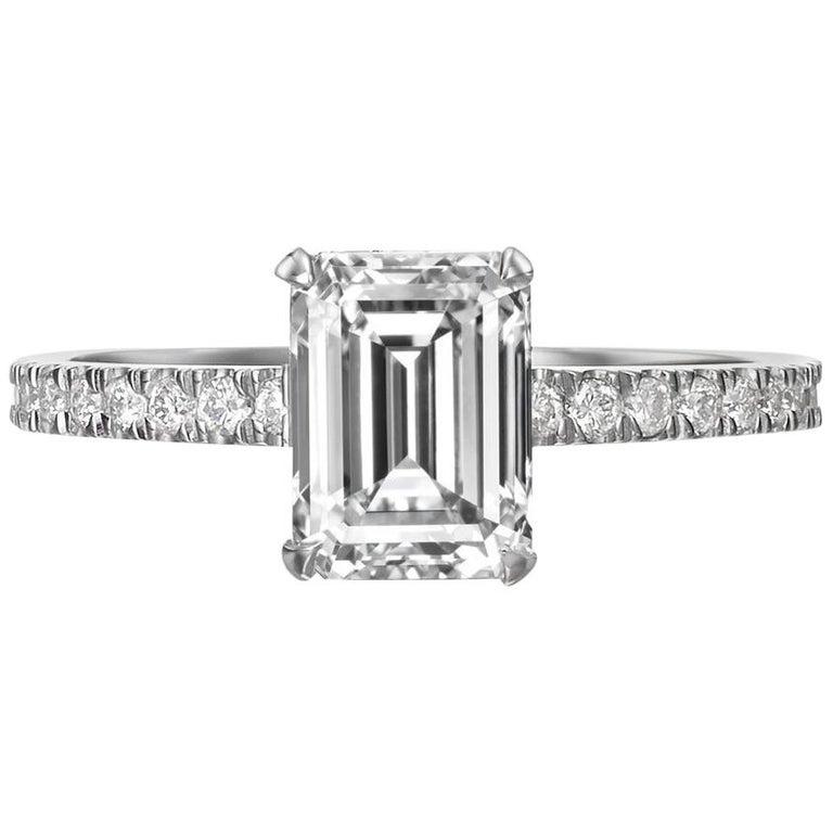 Wedding Ring On Sale.2 05 Carat Emerald Cut Diamond Engagement Ring On 18 Karat White Gold