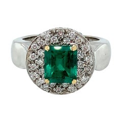 2.05 Carat Emerald-Cut Emerald and Round Diamond White Gold Cocktail Ring