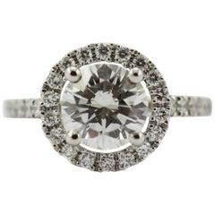 2.05 Carat GIA Certified Diamond F, VVS2 Platinum Cluster Engagement Ring