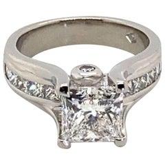 2.05 Carat GIA Certified Princess Cut Diamond Engagement Ring
