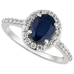 2.05 Carat Natural Diamond and Sapphire Engagement Ring 14 Karat White Gold