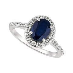 2.05 Carat Natural Diamond and Sapphire Engagement Ring 14 Karat White Gold