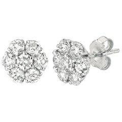 2.05 Carat Natural Diamond Flower Cluster Earrings G-H SI 14 Karat White Gold