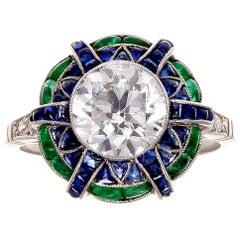2.05 Carat Old European Cut Diamond Emerald Sapphire Platinum Ring