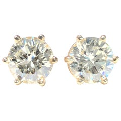 2.05 Carat Round Brilliant Cut Diamond Stud Earrings