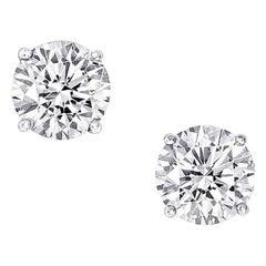 2.05 Carat Round Cut Diamond Stud Earrings