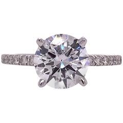 2.05 Carat Round Diamond 18 Karat White Gold Ring GIA F/SI2 Triple Excellent
