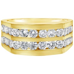 2.05 Carat Round Diamond Double-Row Men's Ring