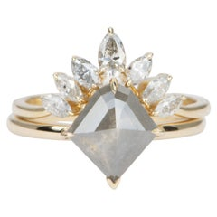2.05 Carat Salt and Pepper Diamond 14 Karat Yellow Gold Ring Set AD1686S-9