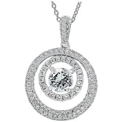 2.05 Carat Total Weight Round Diamond Double Halo Gold Pendant Chain Necklace