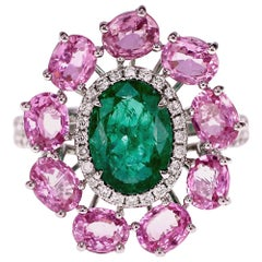 2.05 Carat Vivid Green Emerald and 3.52 Carat Rare Pink Sapphire Party Wear Ring