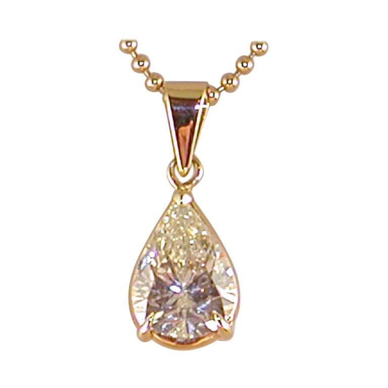 2.05 Carat Yellow Gold Necklace Pear Shape Diamond Solitaire Pendant For Sale