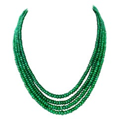 205 Carat 4 Layer Brazilian Emerald Bead Necklace Sterling Silver Clasp