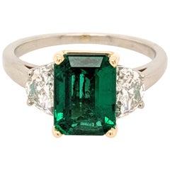 2.05 Zambian Emerald Diamond 3-Stone Ring