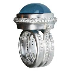 20.50 Carat Aquamarine and Diamond Gold Statement Ring Estate Fine Jewelry