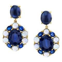 20.51 ct. t.w. Blue Sapphire Faceted, Cabochon Yellow Gold Dangle Drop Earrings