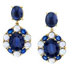 20.51 ct. t.w. Blue Sapphire Faceted, Cabochon 18k Gold Dangle Drop Earrings