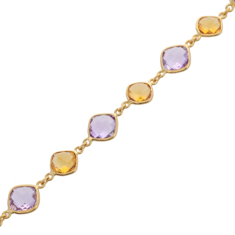 Simple 20.52 carats cushion-shaped briolette - amethyst and citrine are perfect for your summer and spring wardrobe. Mounted in 18 karats yellow gold. The total length of bracelet - 8 inches Size of amethyst - 9x9mm Citrine - 8x8mm