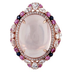 20.55 Carat Rose Quartz Diamond 18 Karat Gold Ring