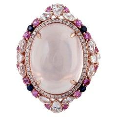 20.55 Carat Rose Quartz Diamond 18 Karat Gold Ring