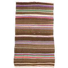 20550 Vintage Berber Moroccan Kilim Rug with Stripes and Boho Chic